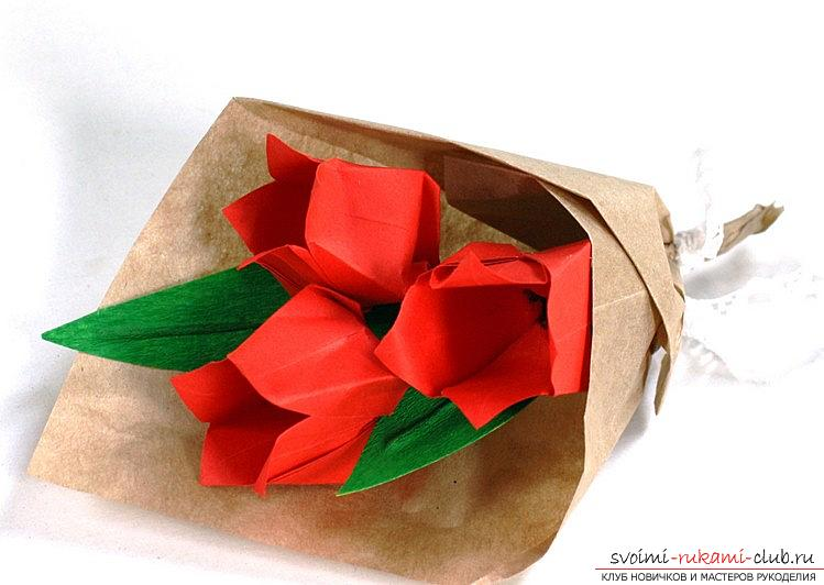 How to make a tulip according to the origami scheme with your own hands - origami for children and adults. Photo №1