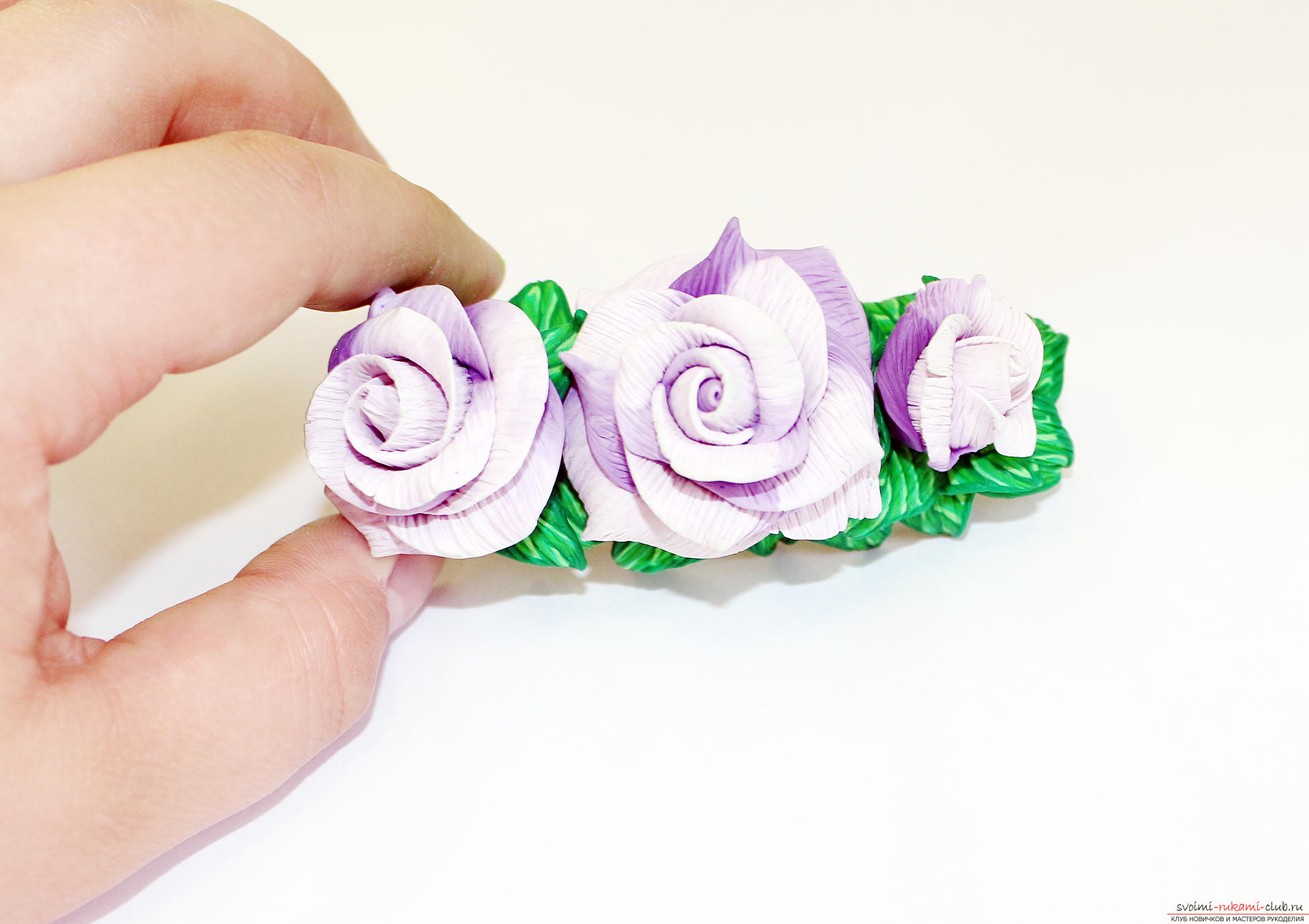 This master class with a photo and description will teach you how to make flowers - roses - from polymer clay in the texturing technique. Photo # 86
