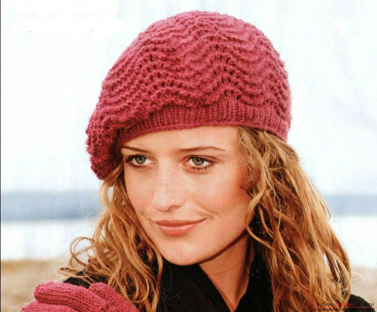 knitted needles for women autumn beret. Photo №1