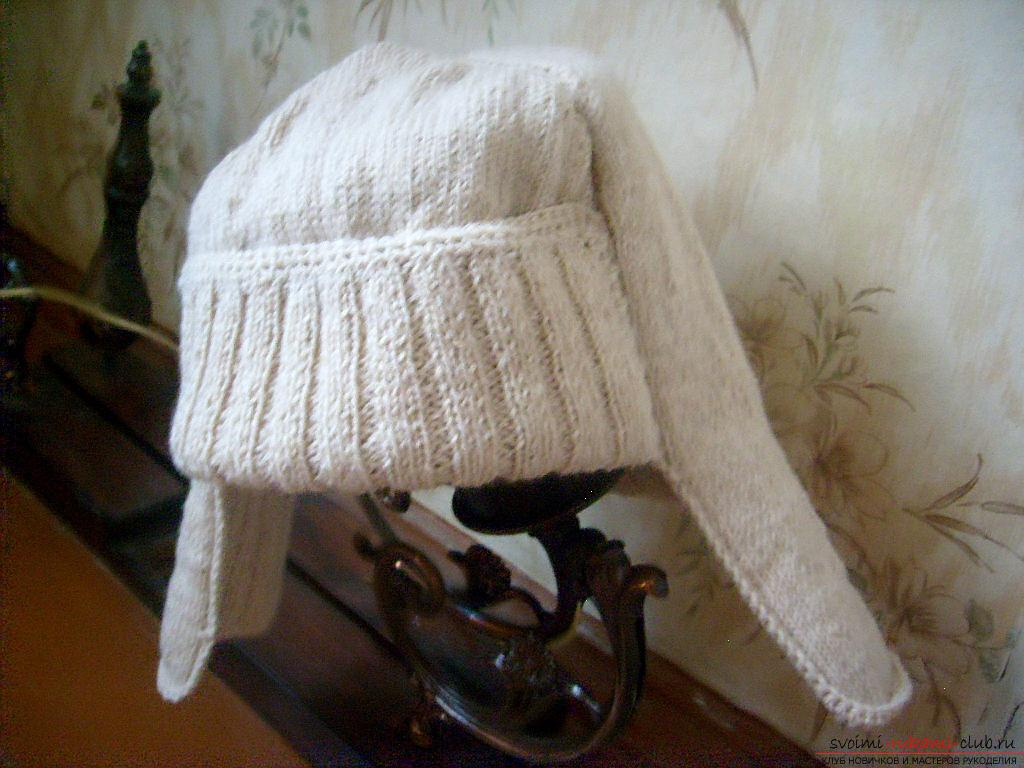 This master class with a pattern will teach how to tie a hat with ear flaps with knitting needles .. Photo # 1