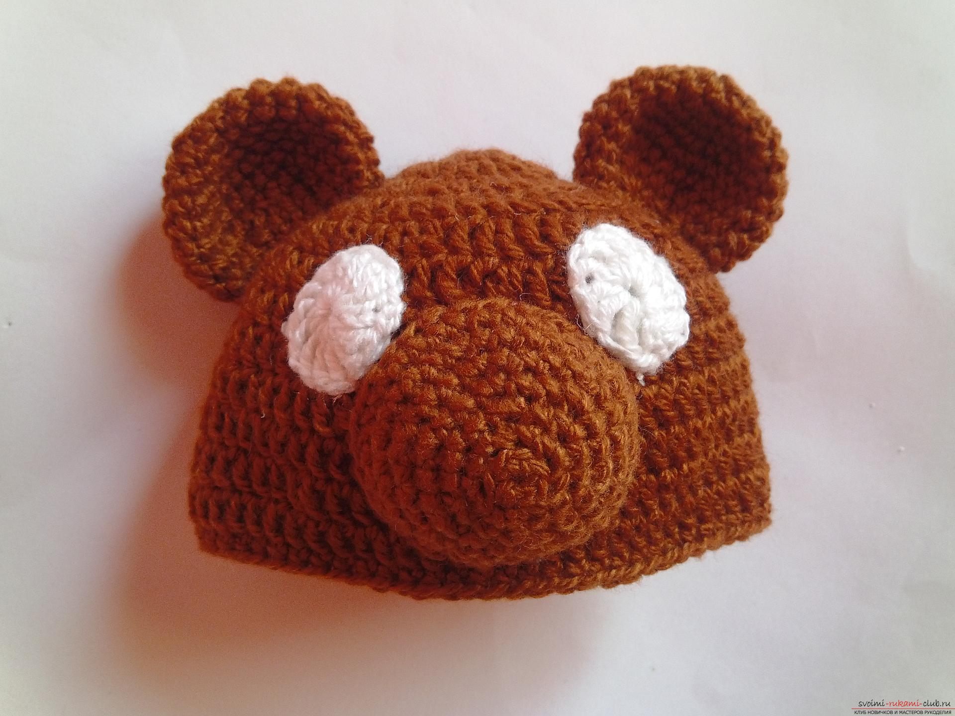 This master class will teach how to tie a cap for newborns - a cap-bear crochet. Picture number 9