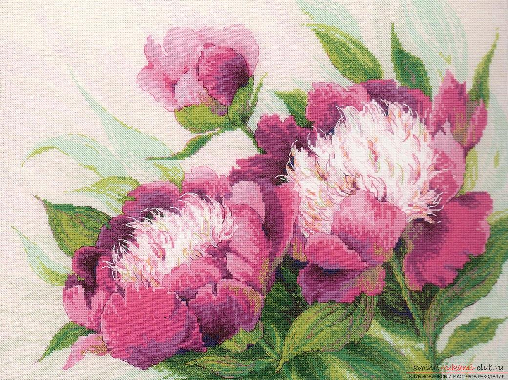 We embroider a cross of peonies: a detailed master class with a description and a photo. Photo №4