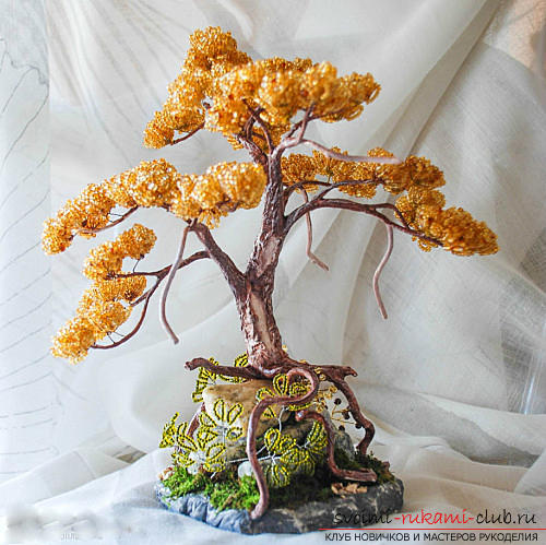 Free detailed lessons on weaving of beads bonsai in different shades. Photo Number 11