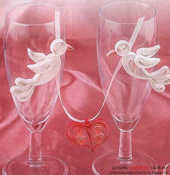 Pigeon of the world in the technique of quilling for wedding glasses - a master class. Photo №1