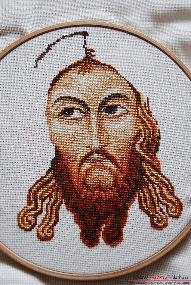We sew cross-stitch icons of the Savior and Saint Blessed Matron for beginners. Photo №4