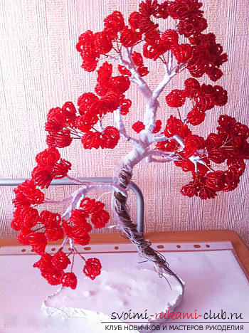 Free detailed lessons on weaving of beads bonsai in different shades. Photo №7