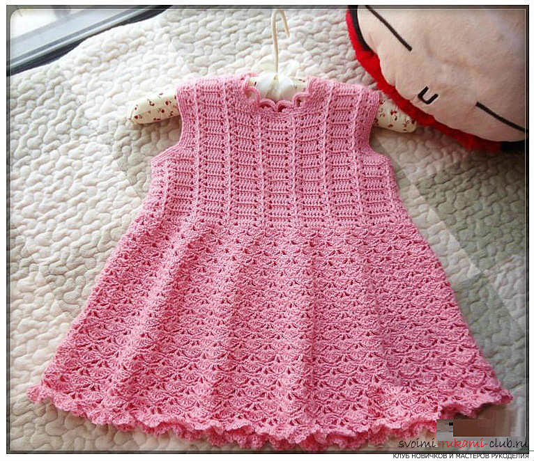 How to crochet a dress for a girl, a pattern, patterns, a description of knitting and a photo of two dresses. Photo №5