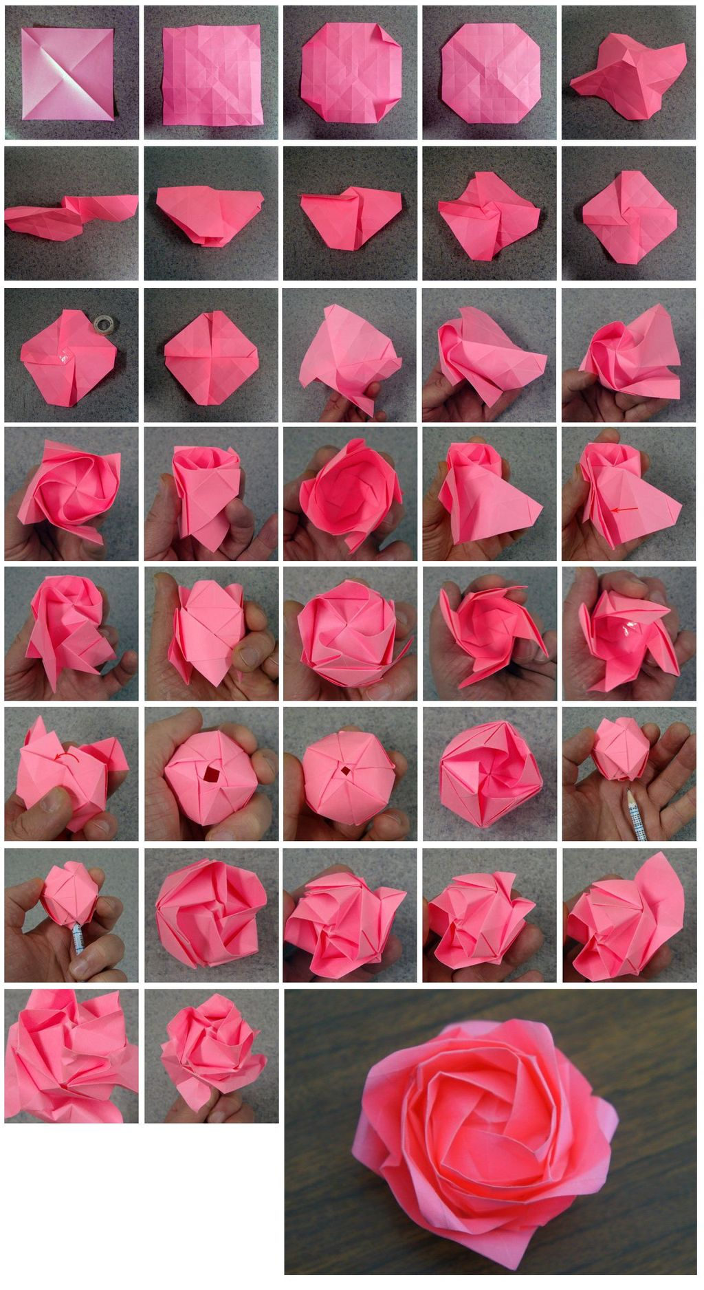 How to Fold a Kawasaki Rose from Paper
