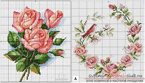 Embroidery of scarlet roses on cushions according to schemes. Photo №4