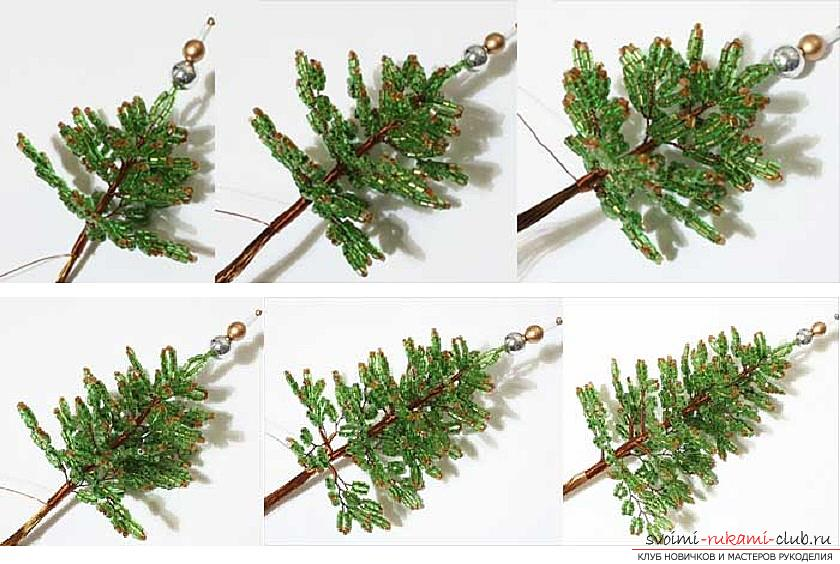 How to weave from beads and wire a New Year's, snow-covered or decorated Christmas tree with their own hands, step-by-step photos and a detailed description. Photo number 15