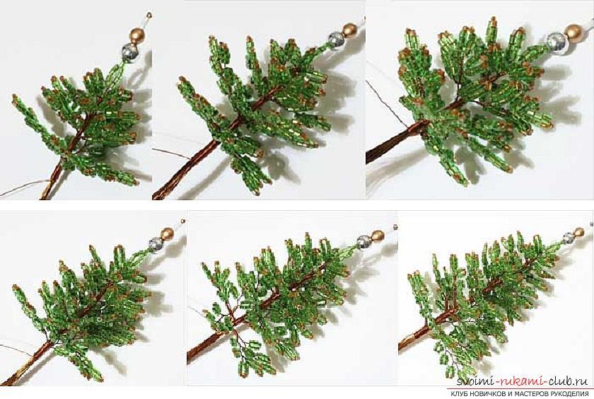 Jak utkać z koralików i drutem noworoczną, ośnieżoną lub dekorowaną choinkę własnymi rękami, krok po kroku zdjęcia i szczegółowy opis. Zdjęcie nr 15