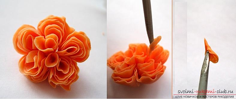 How to mold a rose from polymer clay, a master class with a detailed description and a photo .. Photo # 16