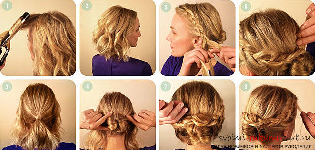 How to make a beautiful hairstyle for medium hair with a French scythe at home. Picture №3