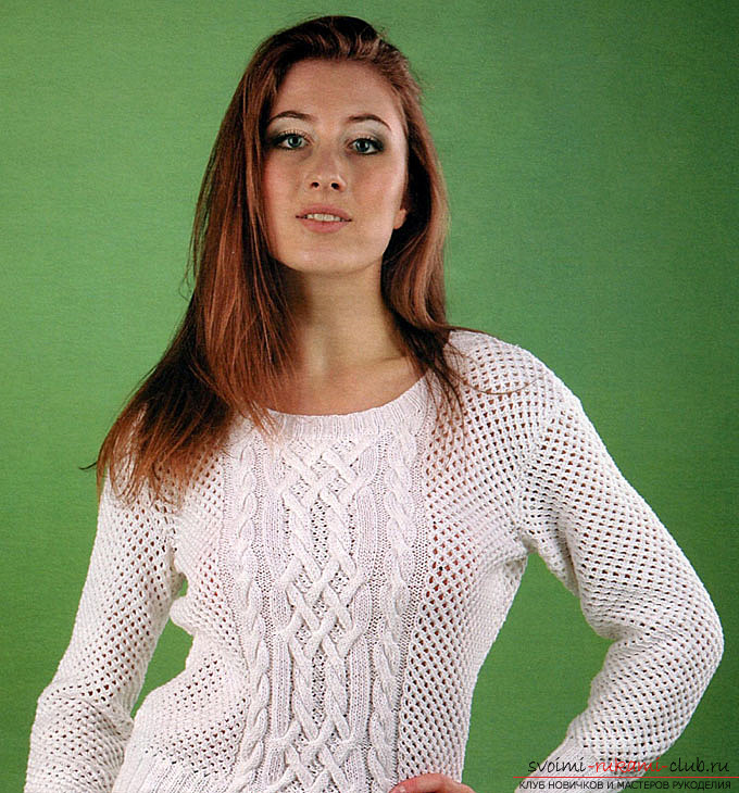A lovely knitted sweater openwork pullover whiteColor with unusual patterns of harnesses, will be a wonderful part of your winter wardrobe. The scheme of knitting an openwork pullover with harnesses by their own hands will appeal not only to skilled craftsmen, but to beginner needlewomen. Photo №1