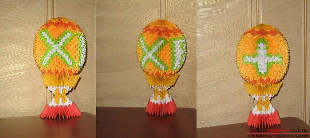 How to make a souvenir with Easter themes in the technique of modular origami, step-by-step photos and a description of the creation of the Easter egg. Picture №31
