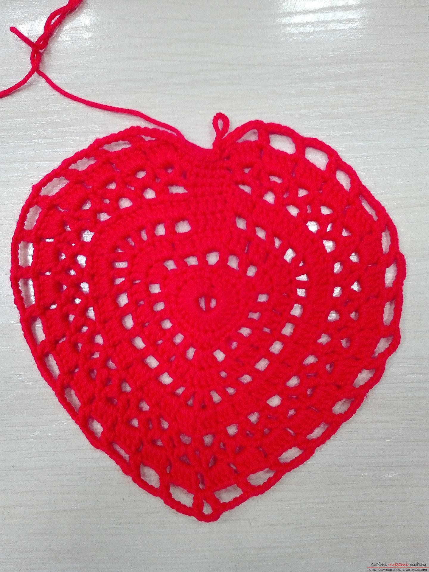 This master class will teach you how to crochet a napkin in the form of a heart for Valentine's Day. Photo number 12