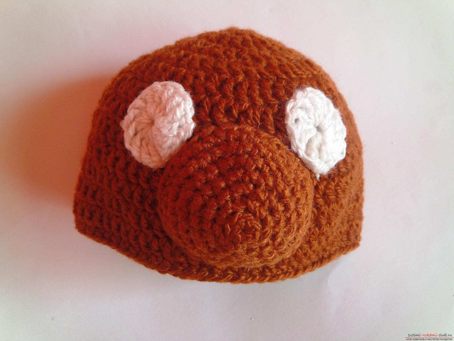 This master class will teach how to tie a cap for newborns - a cap-bear crochet. Picture №8