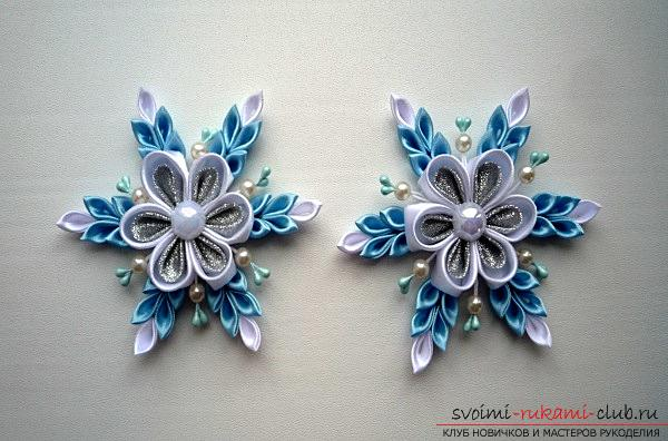 How to make a snowflake Kanzashi own hands for the New Year 2016. Photo # 4