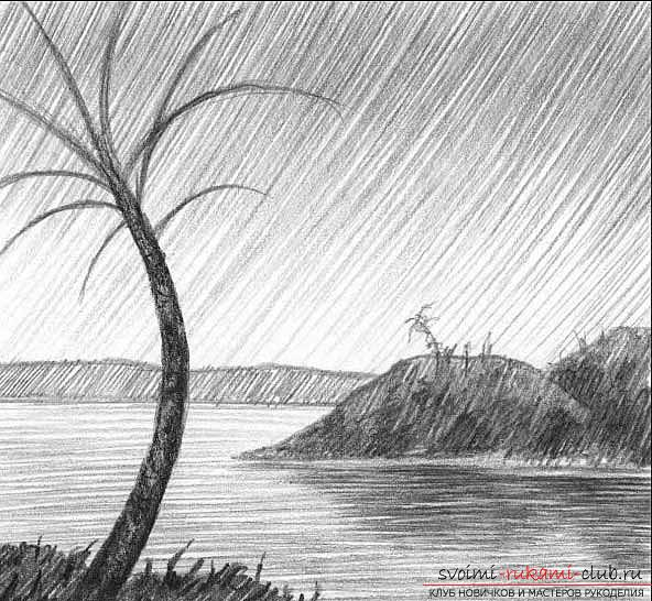 Drawing a simple landscape with a pencil in stages. Photo №7