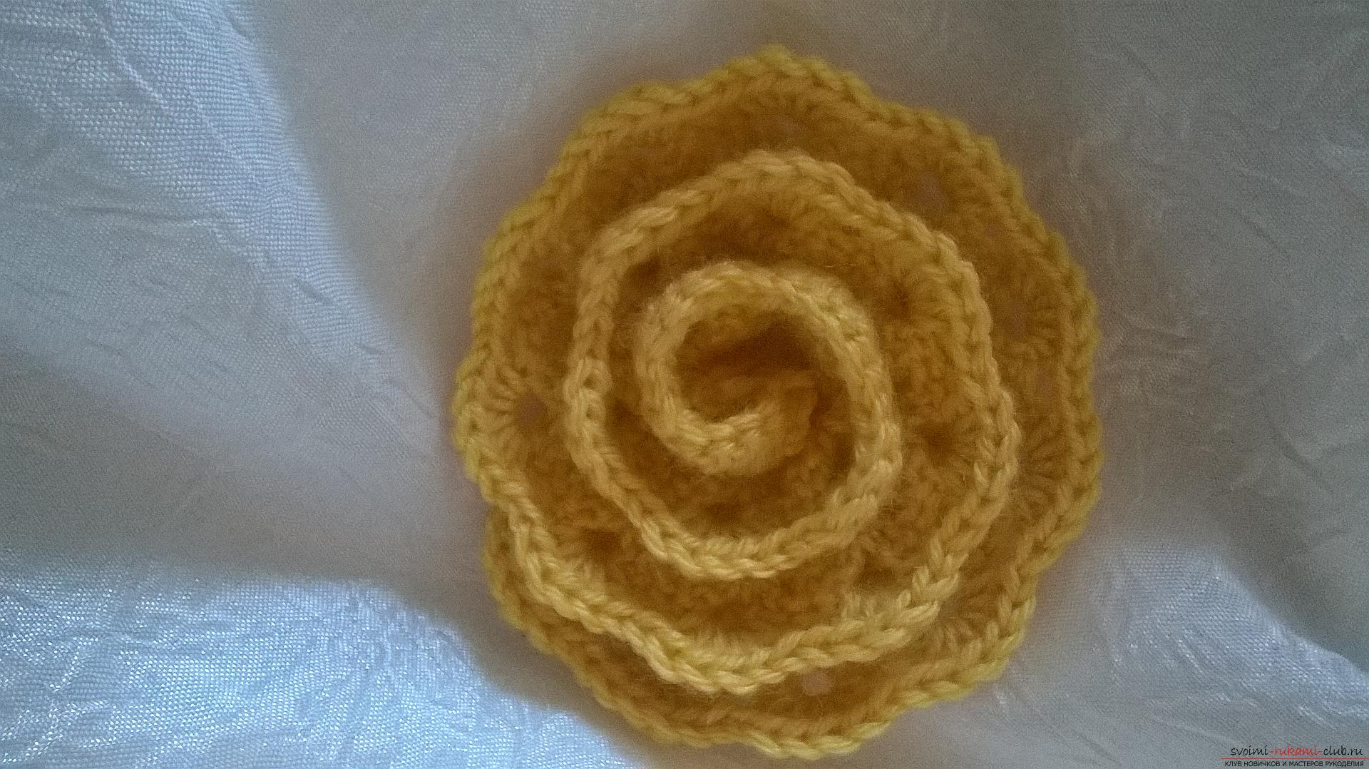 The master class will teach you how to make your own hair elastic band with a crocheted flower. Photo №6