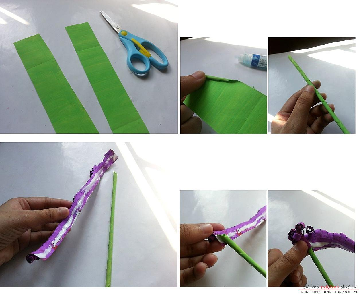 How to make your own hands beautiful and original crafts using kiwing techniques and others, step-by-step photos and instructions for creating paper crafts. Photo Number 19
