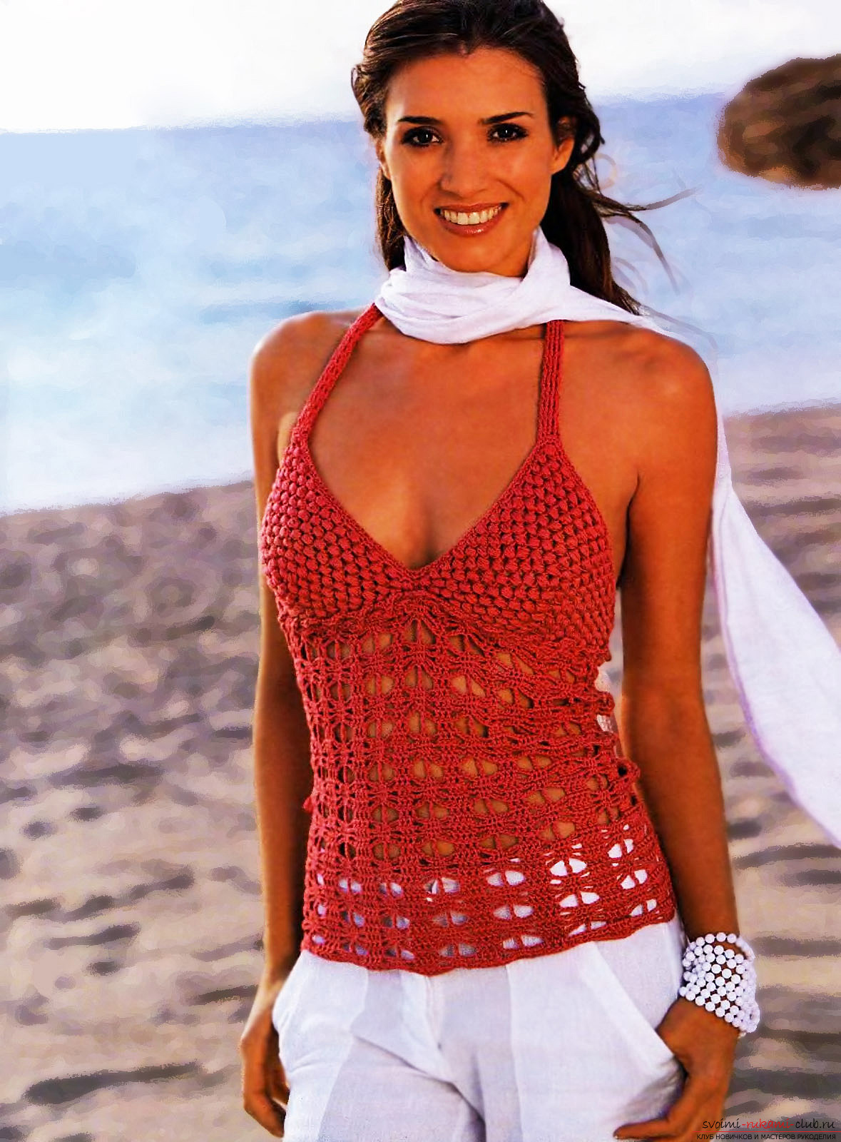 Bright and original top, crocheted. Picture №3