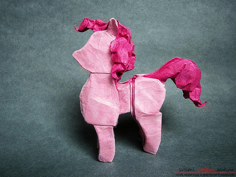 How to make a pink pony. Scheme and photos for origami animals by their own hands .. Photo # 1
