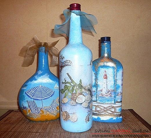 Original decoupage of bottles with their own hands: master class. Photo №4