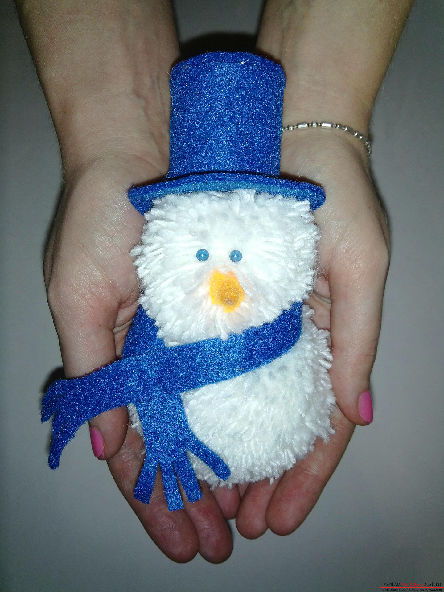 A master class with photo and description will tell you how to make a snowman with your own hands. Photo №1