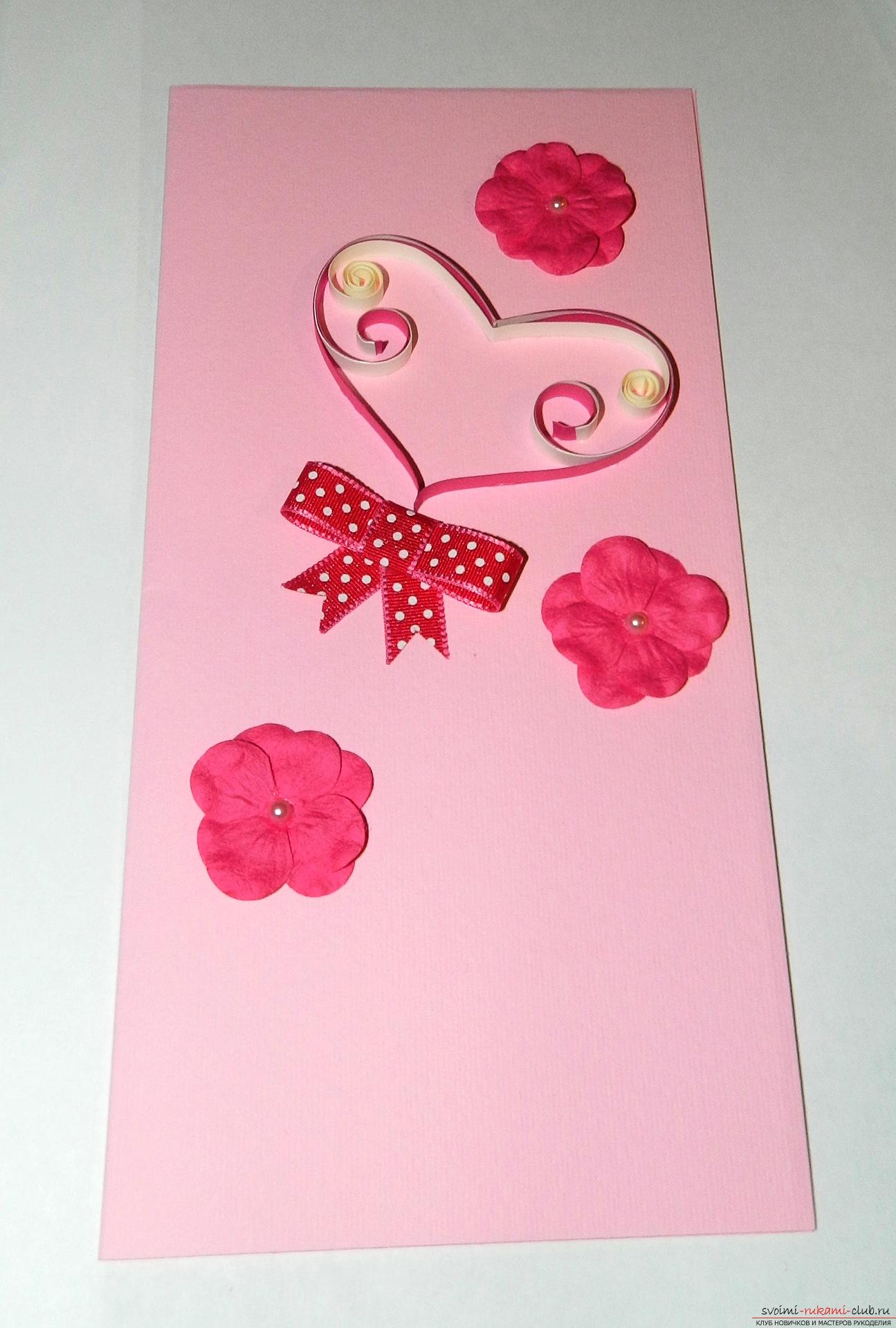 This master class will teach you how to make a postcard with your own hands in the technique of quilling technique. Photo # 25