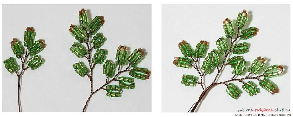 How to weave from beads and wire a New Year's, snow-covered or decorated Christmas tree with their own hands, step-by-step photos and a detailed description. Photo №13