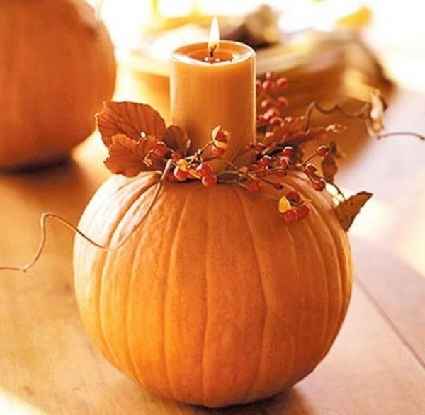 Autumn crafts: pumpkin candlestick
