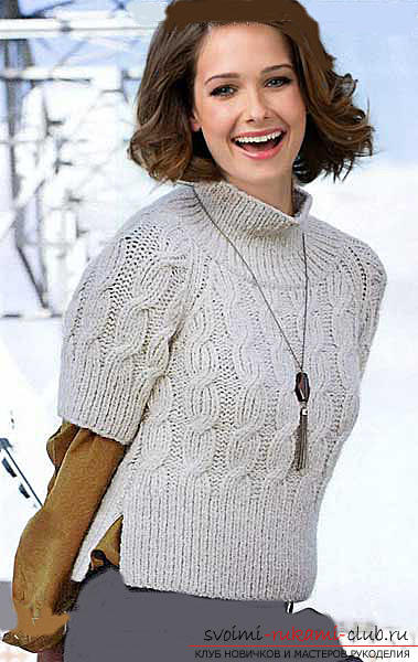How to tie a pullover with a braid pattern. Photo №6