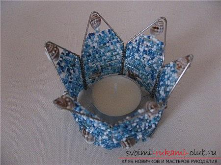 Master classes on decorating and creating candlesticks from beads with photo and description .. Picture №32