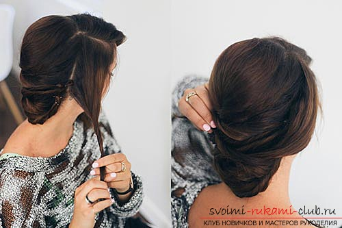 Festive hairstyles can be made with your own hands at home. Simple and easy to perform the installation using photos and job descriptions step by step .. Picture №11