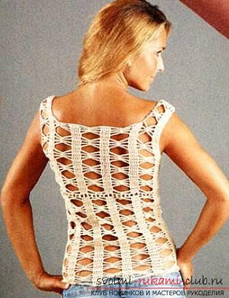 How to crochet summer women's tops, schemes and work description, photo of finished products. Picture №3