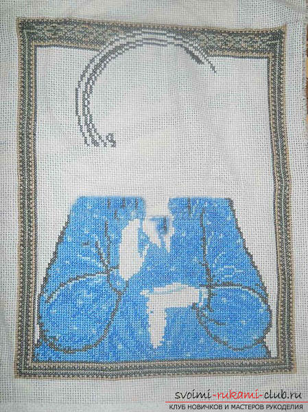 We sew cross-stitch icons of the Savior and Saint Blessed Matron for beginners. Photo Number 9