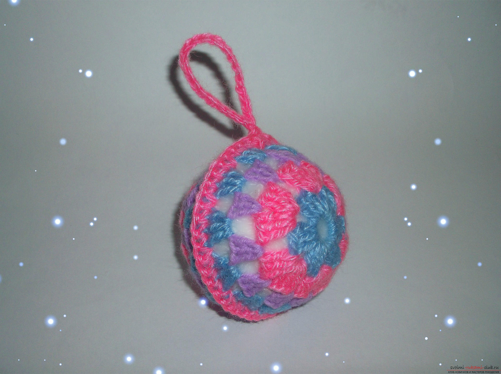 Photo to a lesson on crocheting a Christmas ball. Photo Number 9