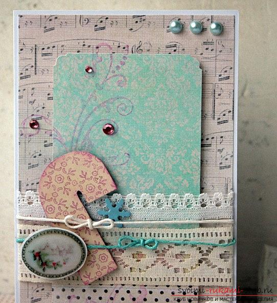 How to make a New Year's card in vintage style with your own hands? Master class and lesson. Photo №1