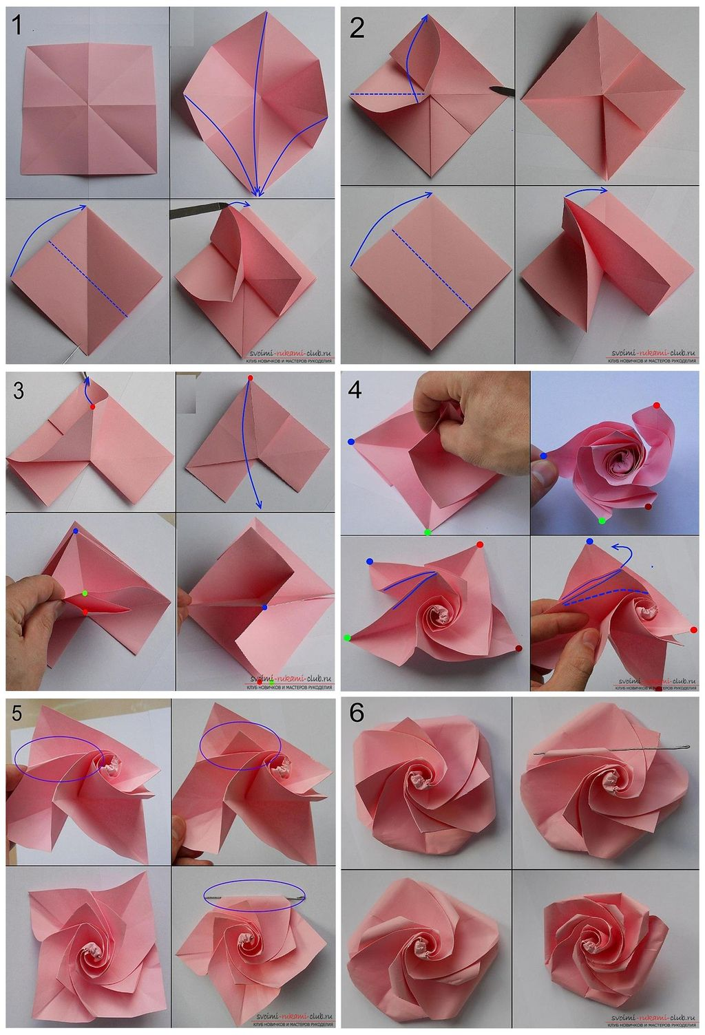 Origami rose from paper