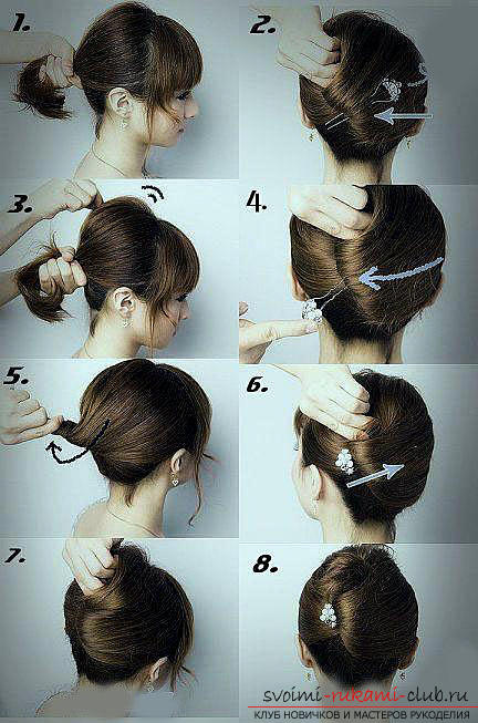 We learn to make beautiful hairstyles on medium hair with our own hands. Picture №3