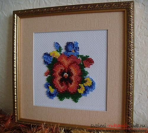 The original flower, embroidered with beads, according to the scheme and photo. Photo №1
