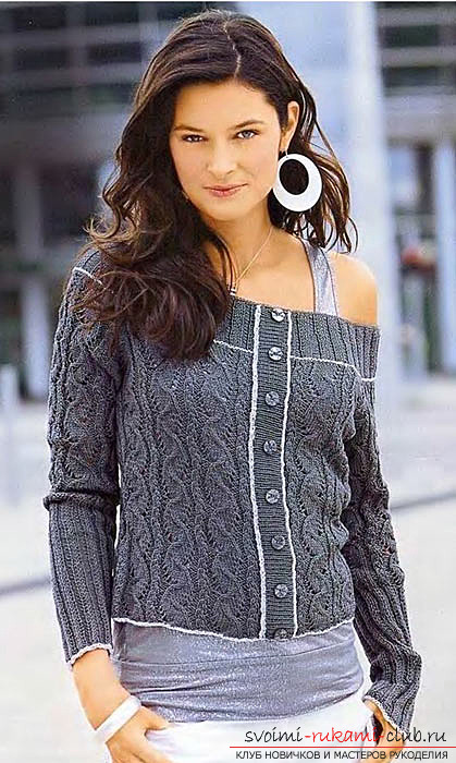 Knitted on knitting needles openwork female pullover with a cut of carmen. Photo №1