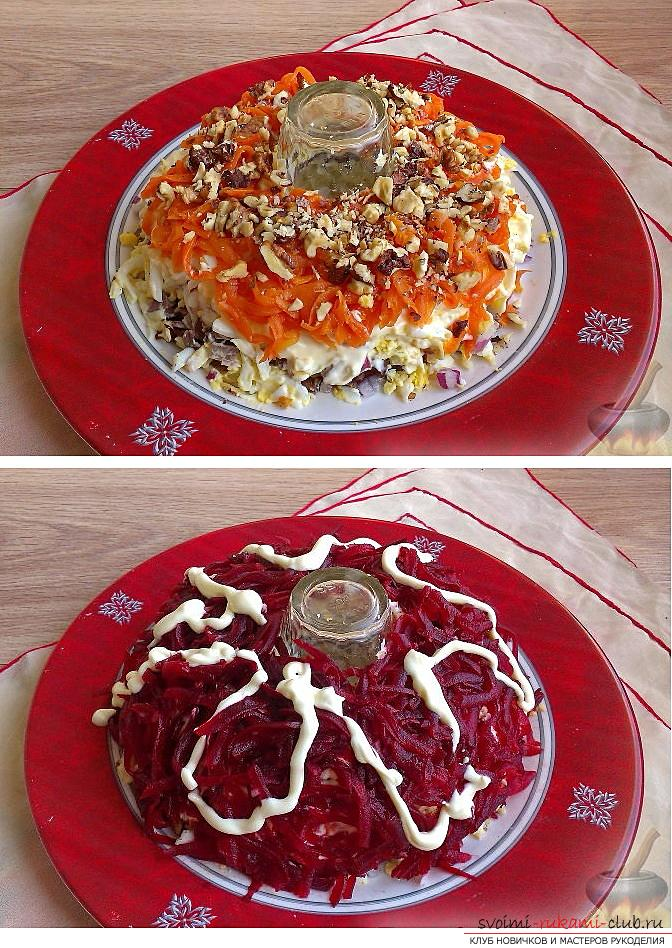 How to cook delicious salads for the New Year's celebration, recipes, step-by-step photos and a description of creating tasty and beautiful salads with seafood, pomegranate seeds and soy sauce. Picture №10