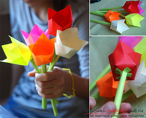 How to make paper flowers by yourself? - paper flowers on March 8, specially for the mother .. Photo №1