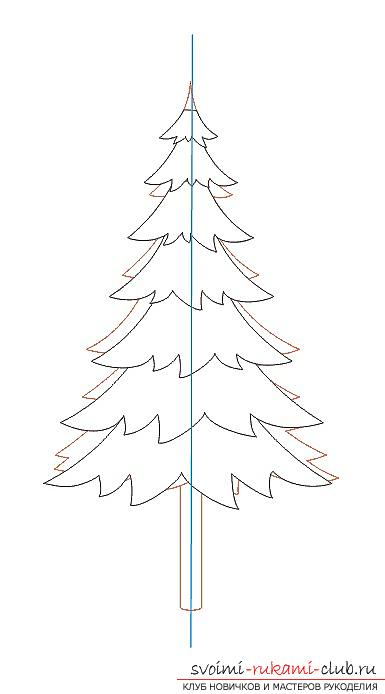 How to draw a Christmas tree with a pencil, a phased photo drawing and a description of the process. Picture №10