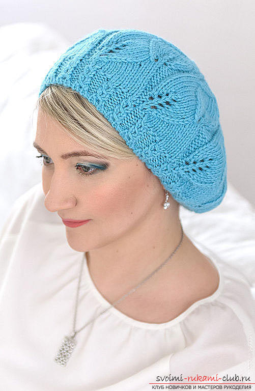 We knit an interesting model of beret with knitting needles. Photo №6