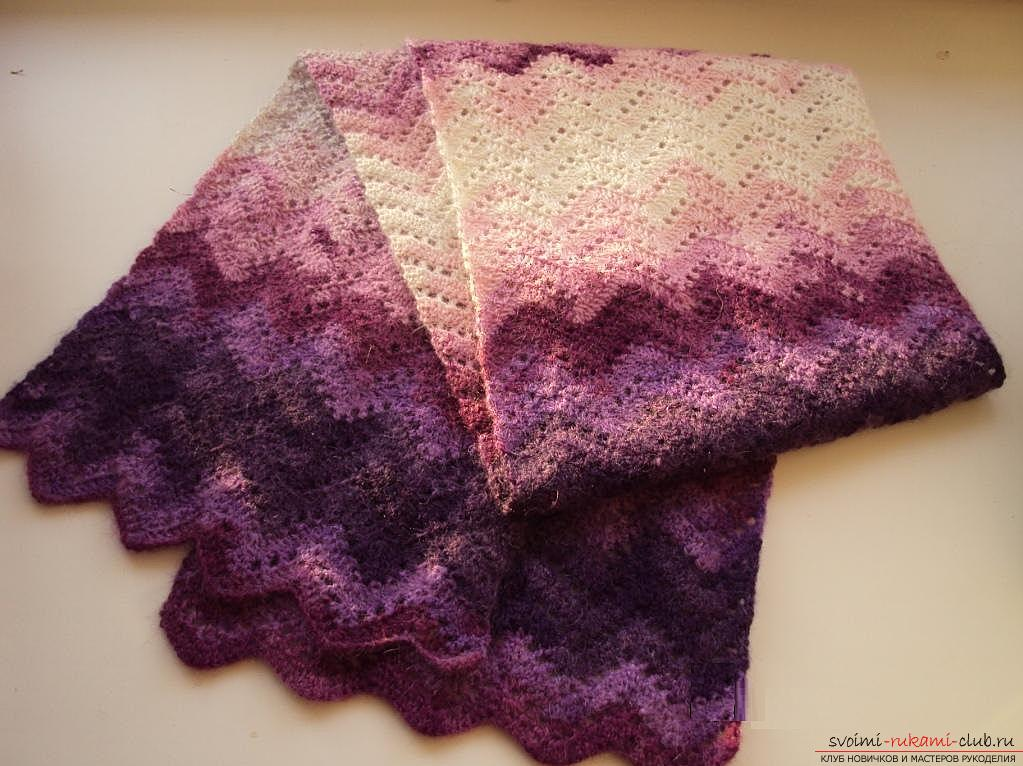 Schemes and a detailed description of knitting knitted scarvesand crochet, photos of finished products, recommendations and advice on the implementation of various scarves, arans, lush columns and many other patterns for scarves. Picture №3