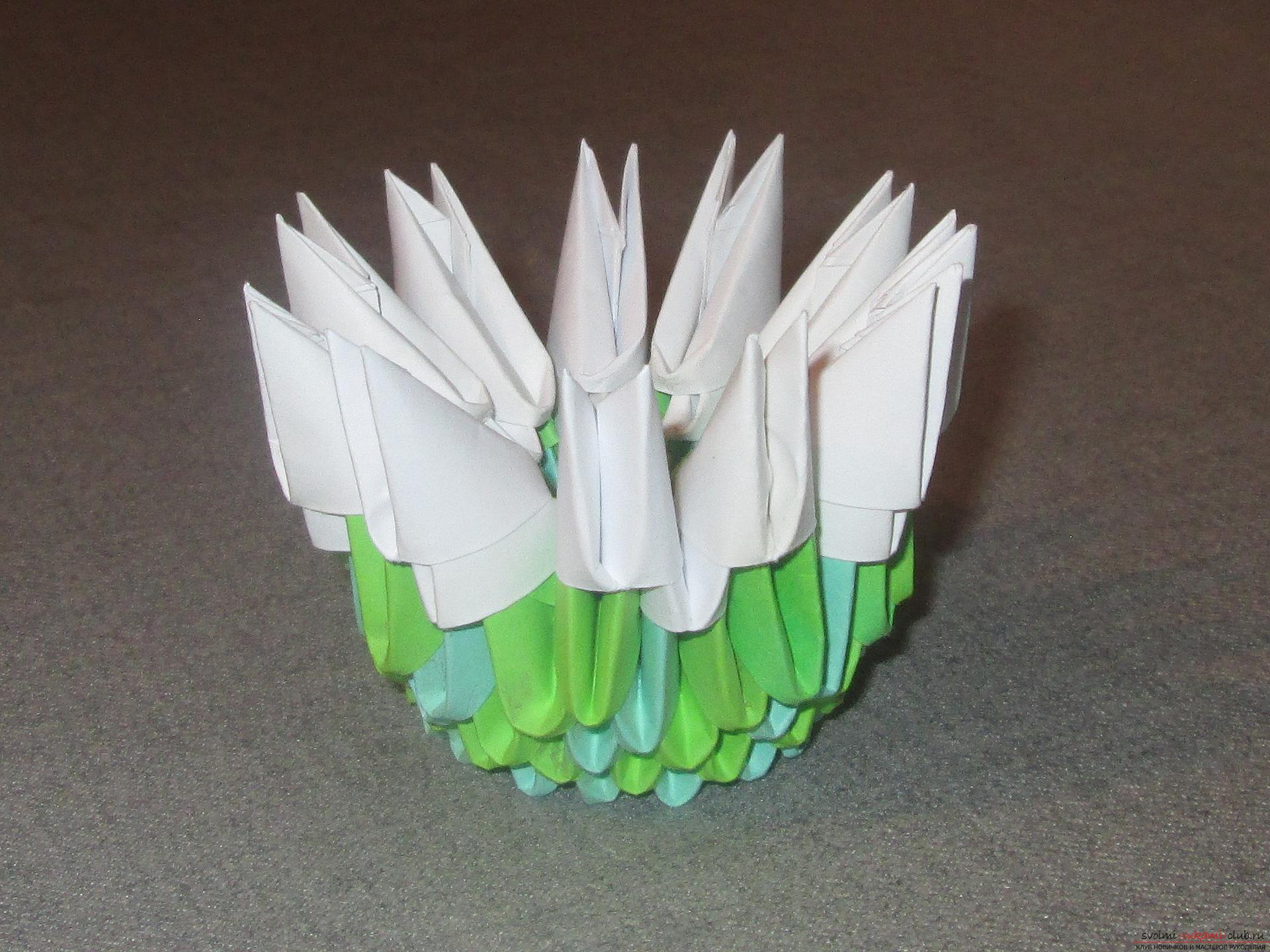 This detailed master-class modular origami with step-by-step photos contains a scheme for assembling the birch from paper .. Photo # 7