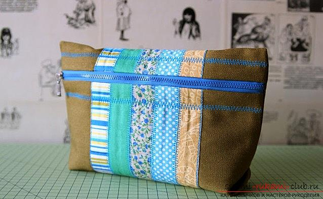 A spacious cosmetic bag sewn in the technique of patchwork sewing. Photo №32